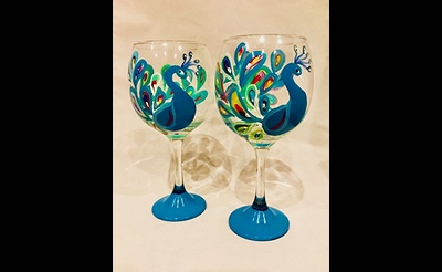 Paint Nite: Pretty as a Peacock Wine Glasses