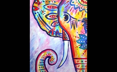Paint Nite: Rainbow The Boho Elephant