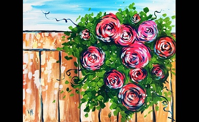 Paint Nite: Roses On A Fence