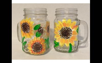 Paint Nite: Sunflower Mason Jars
