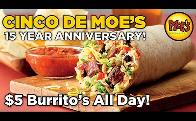 Moe's Southwest Grill Celebrates 15 Years On Long Island!
