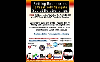Setting Boundaries to Creatively Navigate Social Relationships for Youth and Parents at FREE Self-Empowering Workshop