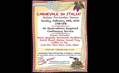 Carnevale in Italia - Our Famous Spaghetti & Meatball Dinner
