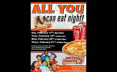 Winter Break All You Can Eat Pizza Party at United Skates of America