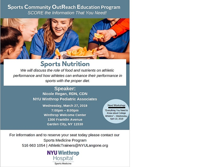 NYU Winthrop Hospital Sports Medicine SCORE program: Sports Nutrition