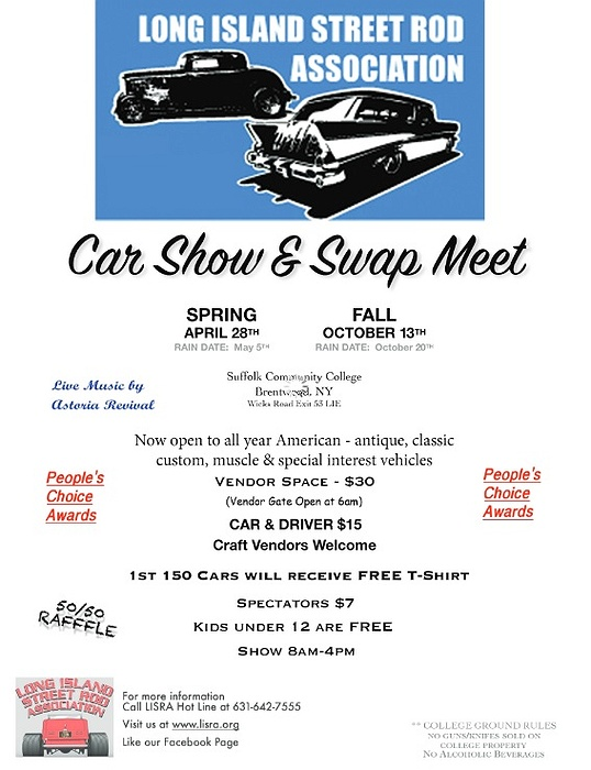 Long Island Car Shows >> Long Island Street Rod Association S 2019 Spring Car Show Swap Meet