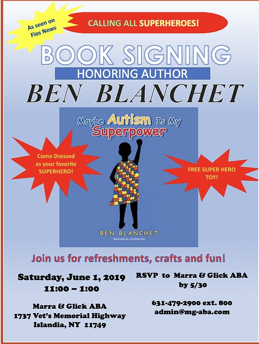 Free Talk And Book Signing With Autism >> Calling All Superheroes Marra Glick Aba Announces A Book Signing