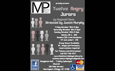 "The Minstrel Players present Reginald Rose's ""Twelve Angry Jurors"""