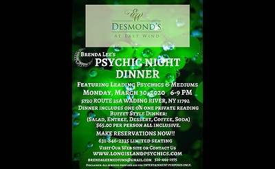 Psychic Night Dinner At Desmond's at East Wind