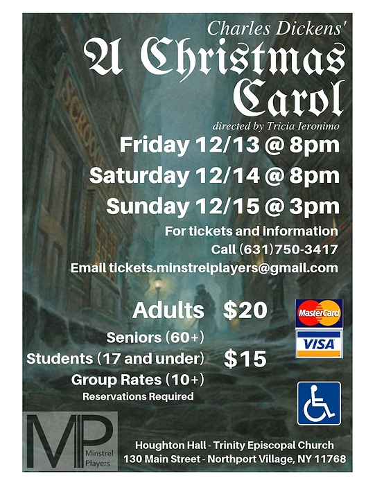 Long Island Christmas Events 2019 The Minstrel Players Inc. announce Auditions for A Christmas Carol