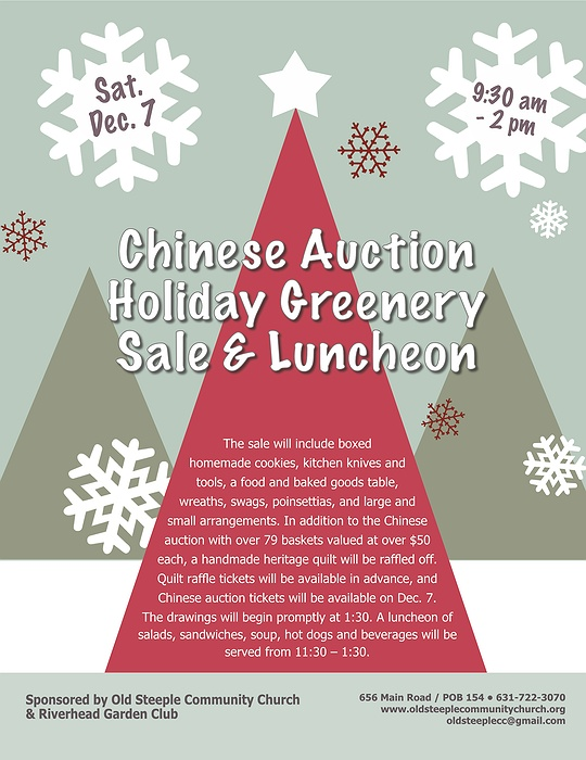 Chinese Auction, Holiday Greenery Sale